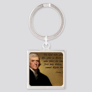 God and Liberty Quote Square Keychain