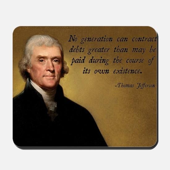 Jefferson Debt Quote Mousepad
