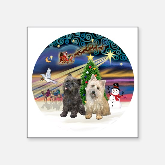 """XmasMagic-TWO Cairn Terrier Square Sticker 3"""" x 3"""""""