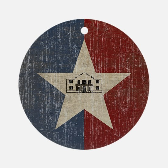 Vintage San Antonio Flag Round Ornament
