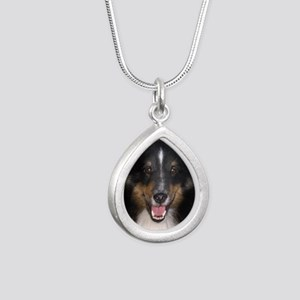 Tri Sheltie Head Study Silver Teardrop Necklace
