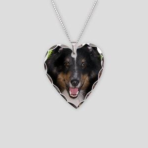 Tri Sheltie Head Study Necklace Heart Charm
