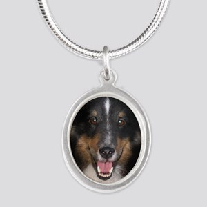 Tri Sheltie Head Study Silver Oval Necklace