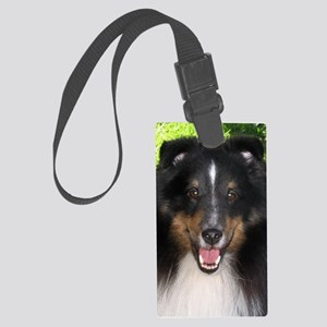 Tri Sheltie Head Study Large Luggage Tag