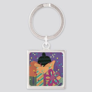 Pups in the Presents Square Keychain