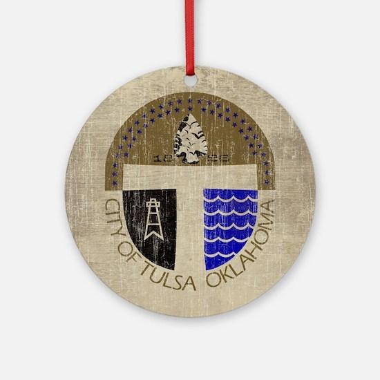 Vintage Tulsa Flag Round Ornament