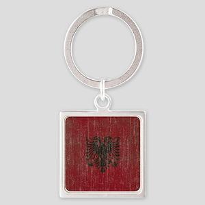 Vintage Albania Flag Square Keychain