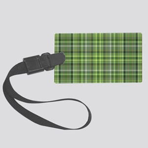 Green Plaid 4 Large Luggage Tag