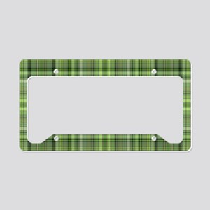 Green Plaid 4 License Plate Holder
