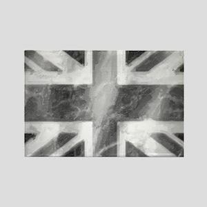 Union Jack Grey Rectangle Magnet