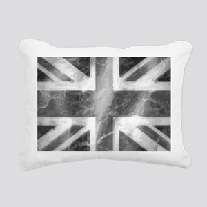 Union Jack Grey Rectangular Canvas Pillow