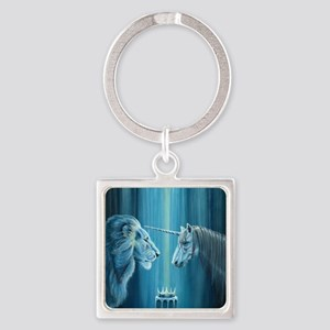 The Lion  The Unicorn Square Keychain