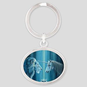 The Lion  The Unicorn Oval Keychain
