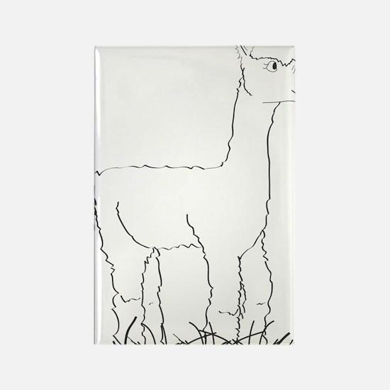 Adorable Alpaca Black Outline Rectangle Magnet