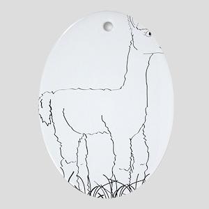 Adorable Alpaca Black Outline Oval Ornament