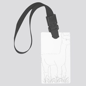 Adorable Alpaca White Outline Large Luggage Tag