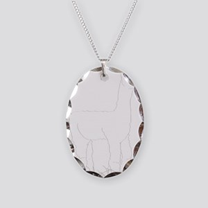 Adorable Alpaca White Outline Necklace Oval Charm