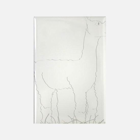 Adorable Alpaca White Outline Rectangle Magnet