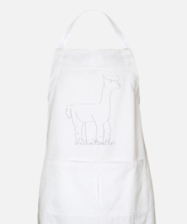 Adorable Alpaca White Outline Apron