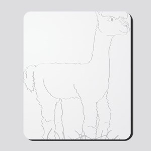 Adorable Alpaca White Outline Mousepad