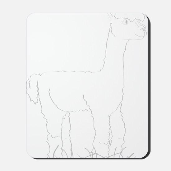 Adorable Alpaca White Outline Mousepad