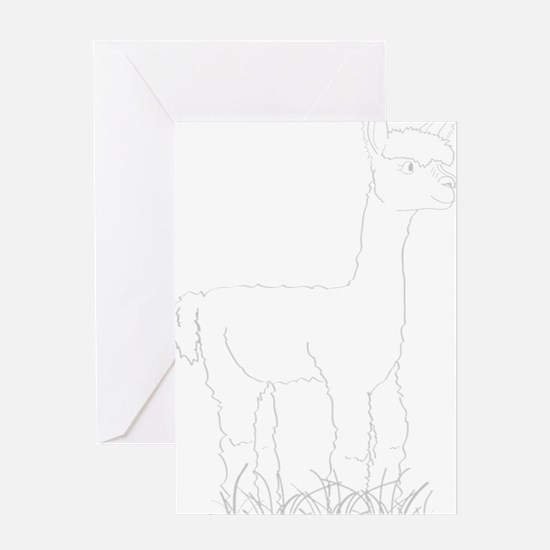 Adorable Alpaca White Outline Greeting Card