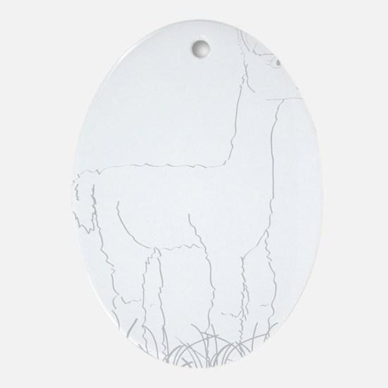 Adorable Alpaca White Outline Oval Ornament