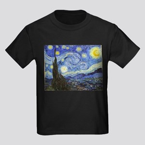 Starry Night - Van Gogh Kids Dark T-Shirt