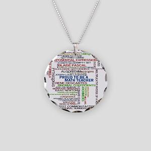 Proud Math Teacher Necklace Circle Charm