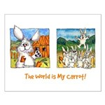 Cartoon Rabbit Carrot Small Poster
