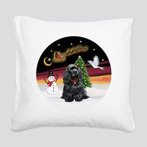 R-NightFlight-BlackCocker Square Canvas Pillow
