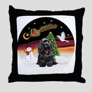 R-NightFlight-BlackCocker Throw Pillow