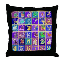 Fantasy Alphabet Bestiary Throw Pillow