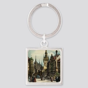 Original 1912 Drawing of Munich Ce Square Keychain