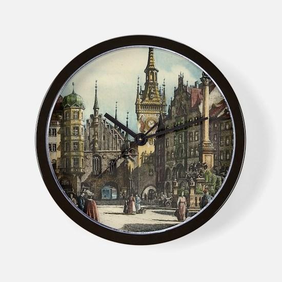 Original 1912 Drawing of Munich Center Wall Clock