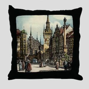 Original 1912 Drawing of Munich Cente Throw Pillow