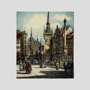 Original 1912 Drawing of Munich Cent Throw Blanket