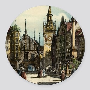 Original 1912 Drawing of Munich C Round Car Magnet
