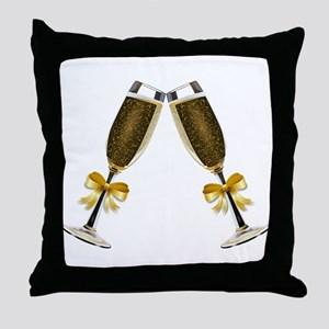 Champagne Glasses Throw Pillow