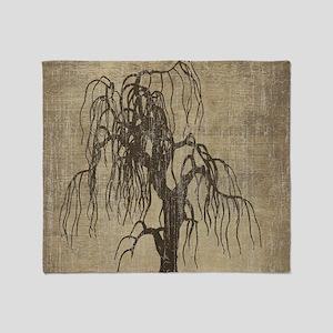 Vintage Willow Tree Throw Blanket