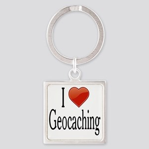 I Love Geocaching Square Keychain