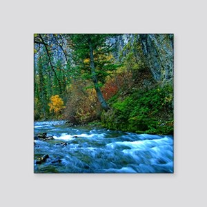 "Mountain river in fall Square Sticker 3"" x 3"""