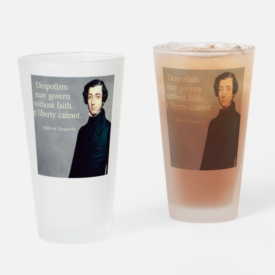 de Tocqueville Faith Quote Drinking Glass