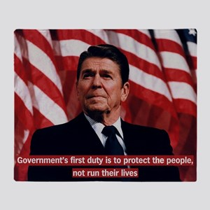 Ronald Reagan Government Quote Throw Blanket