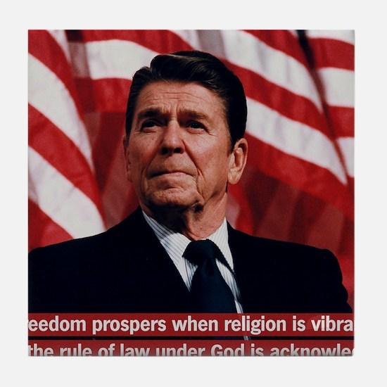Ronald Reagan Freedom Quote Tile Coaster