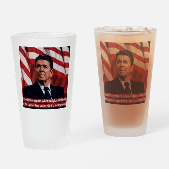 Ronald Reagan Freedom Quote Drinking Glass