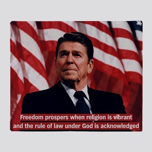 Ronald Reagan Freedom Quote Throw Blanket