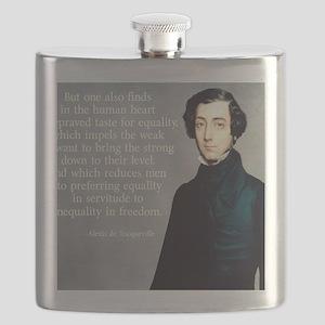de Tocqueville Equality Quote Flask