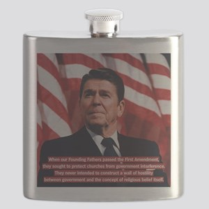 Reagan Church and State Quote Flask