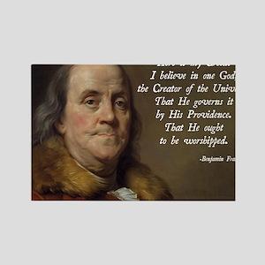 Benjamin Franklin Religion Rectangle Magnet
